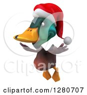 Clipart Of A 3d Christmas Mallard Drake Duck Flying To The Left Royalty Free Illustration