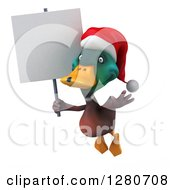 Clipart Of A 3d Christmas Mallard Drake Duck Flying And Holding A Blank Sign Royalty Free Illustration