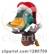 Clipart Of A 3d Christmas Mallard Drake Duck Flying To The Left 2 Royalty Free Illustration
