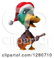 Clipart Of A 3d Christmas Mallard Drake Duck Singing And Playing A Guitar Royalty Free Illustration