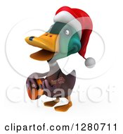 Clipart Of A 3d Christmas Mallard Drake Duck Facing Left Singing And Playing A Guitar Royalty Free Illustration