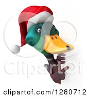 Clipart Of A 3d Christmas Mallard Drake Duck Pointing Around A Sign Royalty Free Illustration