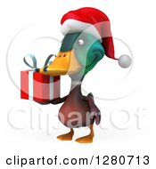 Clipart Of A 3d Christmas Mallard Drake Duck Facing Slightly Left And Holding A Gift Royalty Free Illustration