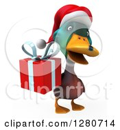 Clipart Of A 3d Christmas Mallard Drake Duck Holding A Gift Royalty Free Illustration