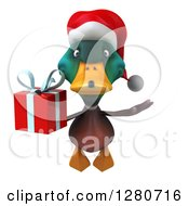 Clipart Of A 3d Christmas Mallard Drake Duck Flying And Holding A Gift Royalty Free Illustration