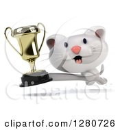 Clipart Of A 3d White Kitten Running And And Holding Out A Trophy Royalty Free Illustration
