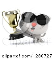 Clipart Of A 3d White Kitten Wearing Sunglasses And Holding Out A Trophy Royalty Free Illustration