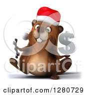 Clipart Of A 3d Christmas Beaver Walking And Holding A Wrench And Dollar Symbol Royalty Free Illustration by Julos
