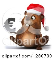 Clipart Of A 3d Christmas Beaver Walking And Holding A Euro Symbol Royalty Free Illustration by Julos