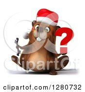 Clipart Of A 3d Christmas Beaver Walking And Holding A Wrench And Question Mark Royalty Free Illustration by Julos