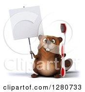 Clipart Of A 3d Beaver Character Holding A Blank Sign And Toothbrush Royalty Free Illustration