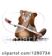 Clipart Of A 3d Beaver Character Holding A Toothbrush Royalty Free Illustration