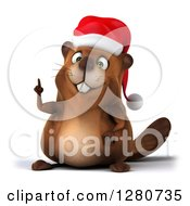 Clipart Of A 3d Christmas Beaver Holding Up A Finger Or Pointing Royalty Free Illustration by Julos