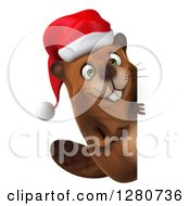 Clipart Of A 3d Christmas Beaver Smiling And Pointing Around A Sign Royalty Free Illustration by Julos