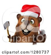 Clipart Of A 3d Christmas Beaver Smiling And Holding An Axe Over A Sign Royalty Free Illustration by Julos