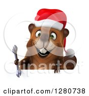 Clipart Of A 3d Christmas Beaver Smiling And Holding A Wrench Over A Sign Royalty Free Illustration by Julos