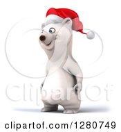 Clipart Of A 3d Christmas Polar Bear Facing Left Royalty Free Illustration