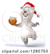 Clipart Of A 3d Christmas Polar Bear Jumping With A Honey Jar Royalty Free Illustration