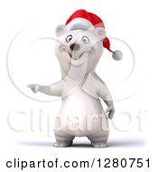 Clipart Of A 3d Christmas Polar Bear Pointing Royalty Free Illustration