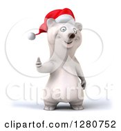 Clipart Of A 3d Christmas Polar Bear Holding A Thumb Up Royalty Free Illustration