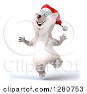 Clipart Of A 3d Christmas Polar Bear Jumping Royalty Free Illustration