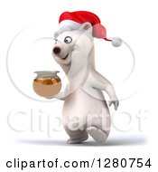 Clipart Of A 3d Christmas Polar Bear Walking With A Honey Jar To The Left Royalty Free Illustration