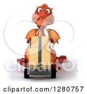 Clipart Of A 3d Red Dragon Moving Boxes On A Dolly Royalty Free Illustration