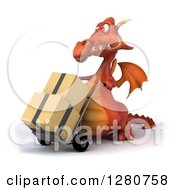 Clipart Of A 3d Red Dragon Moving Boxes On A Dolly 2 Royalty Free Illustration
