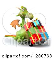 Clipart Of A 3d Green Dragon Moving Gifts On A Dolly Royalty Free Illustration