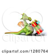 Clipart Of A 3d Green Dragon Moving Gifts On A Dolly 2 Royalty Free Illustration