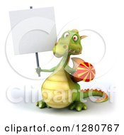 Clipart Of A 3d Green Dragon Holding A Rocket And A Blank Sign Royalty Free Illustration