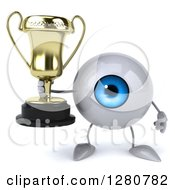Clipart Of A 3d Blue Eyeball Character Holding A Trophy Royalty Free Illustration