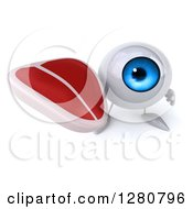 Clipart Of A 3d Blue Eyeball Character Holding Up A Beef Steak Royalty Free Illustration