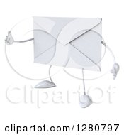 Clipart Of A 3d Envelope Character Facing Slightly Left And Holding A Thumb Up Royalty Free Illustration