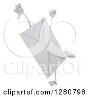 Clipart Of A 3d Envelope Character Doing A Cartwheel Royalty Free Illustration