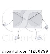 Clipart Of A 3d Envelope Character Gesturing To The Left Royalty Free Illustration