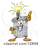 Clipart Picture Of A Garbage Can Mascot Cartoon Character With A Bright Idea by Toons4Biz
