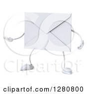 Clipart Of A 3d Envelope Character Gesturing To The Left 2 Royalty Free Illustration