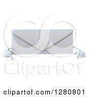 Clipart Of A 3d Envelope Character Pointing Down Over A Sign Royalty Free Illustration