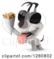 Clipart Of A 3d Happy Jack Russell Terrier Dog Wearing Sunglasses And Holding Up French Fries Royalty Free Illustration
