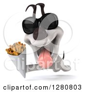 Clipart Of A 3d Happy Jack Russell Terrier Dog Wearing Sunglasses And Running With French Fries Royalty Free Illustration