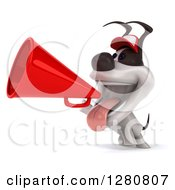 Clipart Of A 3d Happy Jack Russell Terrier Dog Wearing A Baseball Cap And Announcing With A Megaphone Royalty Free Illustration