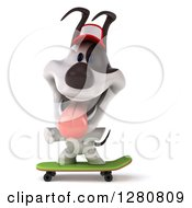 Clipart Of A 3d Happy Skateboarding Jack Russell Terrier Dog Wearing A Hat Royalty Free Illustration