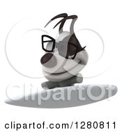 Clipart Of A 3d Bespectacled Jack Russell Terrier Dog Surfing Royalty Free Illustration