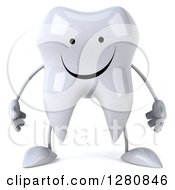 3d Happy Tooth Character