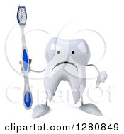 Clipart Of A 3d Unhappy Tooth Character Holding A Blue And White Toothbrush And Thumb Down Royalty Free Illustration