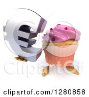 Clipart Of A 3d Pink Frosted Cupcake Character Holding Up A Euro Symbol Royalty Free Illustration by Julos