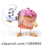Clipart Of A 3d Pink Frosted Cupcake Character Holding And Pointing To A Euro Symbol Royalty Free Illustration by Julos