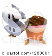 Clipart Of A 3d Chocolate Frosted Cupcake Character Holding Up A Dollar Symbol Royalty Free Illustration by Julos