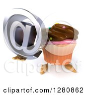 Clipart Of A 3d Chocolate Frosted Cupcake Character Holding Up An Email Arobase At Symbol Royalty Free Illustration by Julos
